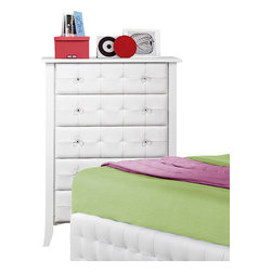 Homelegance - Homelegance Sparkle 5-Drawer Chest in White - The glamour girl in your life will swoon when she opens her bedroom door to the Sparkle collection. Fashion forward and scaled to fit her needs, this trendy bedroom will make her the envy of all of her friends. white bi-cast vinyl is featured not only on the tufted headboard, but on the-drawer fronts of each case piece and coordinating vanity and storage stools. Clear hardware is faceted for maximum sparkle and punctuates each-drawer front. Matching vanity features a hidden mirror within the lift top storage area.