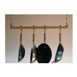 Taylor and Ng - Track Ceiling Pot Rack - Optional eight hanging links. Hanging. Made from bamboo, steel and cast aluminum. Rectangular shape. Natural finish. Distance from ceiling: 22 in.. Hanging link: 1.13 in. L x 0.19 in. W x 3 in. H (0.38 lbs.). Pot rack with hooks and hanging links: 36 in. L x 4.50 in. W x 1.83 in. H. Pot rack: 36 in. L x 1.63 in. W x 1.50 in. H (4.40 lbs.). Includes mounting hardware, instructions booklet, two 36 in. bars, sixteen hanging links, five pan hooks, two ceiling mounting, two swivel and end hooks. Assembly required. Made in Taiwan. 360 degree swivel hooks. End hooks with connecting bolts to holds rack together. Mounts directly to ceiling wood joist 16 in. on centerMaximize your ceiling space to store all of your pots and pans. Steel Hanging Links to extend your pot rack from the ceiling.