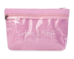 Shalom International Corp. - Lil Wet Suit Baby Bathing Suit & Lotions Case in Pink - Keep your baby's swim and sun accessories neat and organized with the Lil Wet Suit Baby Bathing Suit Case. Made with a water-resistant lining, this pouch is perfect for storing clean or wet suits. A separate compartment fits lotions and stuff easily.