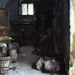 "John Singer Sargent Pressing the Grapes: Florentine Wine Cellar Print - 16"" x 20"" John Singer Sargent Pressing the Grapes: Florentine Wine Cellar premium archival print reproduced to meet museum quality standards. Our museum quality archival prints are produced using high-precision print technology for a more accurate reproduction printed on high quality, heavyweight matte presentation paper with fade-resistant, archival inks. Our progressive business model allows us to offer works of art to you at the best wholesale pricing, significantly less than art gallery prices, affordable to all. This line of artwork is produced with extra white border space (if you choose to have it framed, for your framer to work with to frame properly or utilize a larger mat and/or frame).  We present a comprehensive collection of exceptional art reproductions byJohn Singer Sargent."