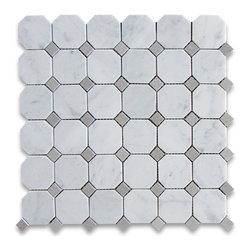 "Stone Center Corp - Carrara Marble Octagon Mosaic Tile Gray Dots 2 inch Honed - Carrara White Marble 2"" octagon pieces and Bardiglio Gray marble mounted on 12""x12"" sturdy mesh tile sheet"