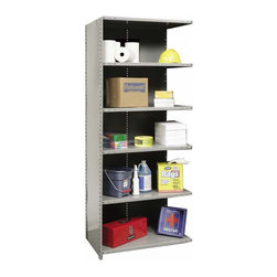 Hallowell - 87 in. High 6-Tier Hi-Tech Heavy-Duty Closed Shelving - Adder (36 in. W x 12 in. - Depth: 36 in. W x 12 in. D x 87 in. H. Additional storage will instantly be yours with this six-tier heavy-duty shelving unit as part of your design. Perfect for a garage, basement or workshop, the adder unit is designed to link to an existing shelf and is made of cold rolled steel in gray finish. It is available in your choice of sizes. Includes 1 beaded front post, 2 angle back posts, 1 back panel and 1 side panel. Great addition to Hi-Tech heavy-duty closed shelving starter unit. 6 Adjustable shelves. Fabricated from cold rolled steel. Welds are spaced 3 in. on center to provide maximum strength. Sides are triple flanged to form a channel. All 4 corners are lapped and resistance welded to provide a rigid corner and add extra strength to the shelf. Tubular front edge is designed to protect against impact loads. 36 in. W x 12 in. D x 87 in. H. 36 in. W x 18 in. D x 87 in. H. 36 in. W x 24 in. D x 87 in. H. Assembly required. 1-Year warranty