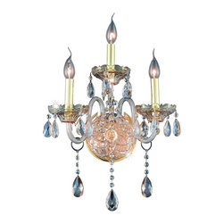 Elegant - Verona Golden Shadow Royal Cut Wall Sconce Chandelier - Inspired by the elegant English chandeliers of the Eighteenth century, the allure of our Verona Collection captures the look of pure luxury. Cut-crystal center columns and bobeches accent the drape.