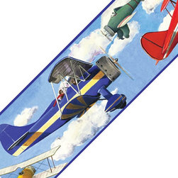 Store51 LLC - Vintage Planes Clouds Set of 4 Self-Stick Wall Borders - FEATURES: