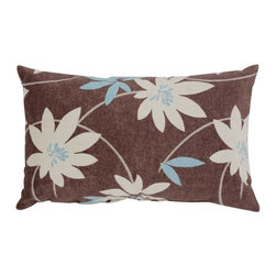 Pillow Perfect - Pillow Perfect Decorative Brown and Blue Flocked Floral 18.5 x 11.5 in. Toss Pil - Shop for Pillows from Hayneedle.com! Sumptuously velvety with a bold modern print the Decorative Brown/Blue Flocked Floral 18.5 x 11.5 in. Toss Pillow is a gorgeous way to add texture and style to your space. This pillow has a chocolate brown background with blue and white floral pattern for a casually elegant look. It's made with a soft flocked cotton and polyester blend fabric cover filled with 100% virgin recycled polyester for a cushy feel. About Pillow PerfectPillow Perfect was founded by Paul and David Ratner two brothers with a passion for comfortable design stylish functionality and a commitment to pleasing their customers. With over 25 years in the business the founders of Pillow Perfect operate just North of Atlanta Georgia and have been producing products that add style and color to home and patios across the US. Keeping up with styles trends consumer needs and quality assurance makes them a major player in the industry. Their manufacturing facility brings all their ideas together and makes them a reality for customers all over the country and through drop-ship online retailers all over the world.