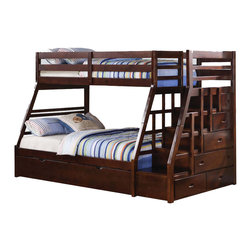 Adarn Inc. - Espresso Wood Stairway Chest Twin Over Full Bunk Bed w/ Trundle Step Stairs - This Jason Espresso Twin over Full Bunk Bed with Storage Ladder and Trundle with warm design and functional character will be a wonderful addition to your child's bedroom. The built in guard rail and ladder add safety and convenience, while clean lines and espresso finish contribute to relaxed style. Assembly Required.