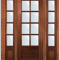 "Prehung Patio Side lights Door 96 Wood Mahogany 3/4 Lite 8 Lite - SKU#    LD8358-G-TDL18-2Brand    GlassCraftDoor Type    FrenchManufacturer Collection    8 Lite French DoorsDoor Model    8 LiteDoor Material    WoodWoodgrain    MahoganyVeneer    Price    4240Door Size Options      +$percent  +$percent  +$percent  +$percent  +$percent  +$percentCore Type    Door Style    Door Lite Style    3/4 Lite , 8 LiteDoor Panel Style    1 PanelHome Style Matching    Door Construction    TDLPrehanging Options    PrehungPrehung Configuration    Door with Two SidelitesDoor Thickness (Inches)    1.75Glass Thickness (Inches)    Glass Type    Double GlazedGlass Caming    Glass Features    Low-E , Tempered ,  Low-E , BeveledGlass Style    Glass Texture    ClearGlass Obscurity    No ObscurityDoor Features    Door Approvals    Wind-load Rated , FSC , TCEQ , AMD , NFRC-IG , IRC , NFRC-Safety GlassDoor Finishes    Door Accessories    Weight (lbs)    628Crating Size    25"" (w)x 108"" (l)x 52"" (h)Lead Time    Slab Doors: 7 Business DaysPrehung:14 Business DaysPrefinished, PreHung:21 Business DaysWarranty    One (1) year limited warranty for all unfinished wood doorsOne (1) year limited warranty for all factory?finished wood doors"