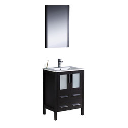"Fresca - Fresca Torino 24"" Modern Bathroom Vanity w/ Integrated Sink - Espresso - Fresca is pleased to usher in a new age of customization with the introduction of its Torino line. The frosted glass panels of the doors balance out the sleek and modern lines of Torino, making it fit perfectly in either Town or Country dcor."