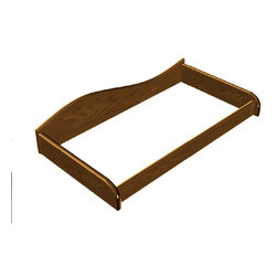 "Changing Table Tray, Chocolate - Changing Table Tray in solid hard wood and chocolate finish holds changing pad secure on the chest.  Fits standard changing pads, 32"" x 16"" (sold separately).  Tray attaches to the back of the chest with mending plates. Chocolate finish, Fits all Chocolate finish 5 drawer chests."