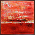 """overstockArt.com - Carney - Geo Horizon 78, 24x24, Studio Cherry Wood Frame 24""""x24"""" - 24"""" X 24"""" Oil Painting On Canvas Geo Horizon 78 is a beautiful and colorful abstract painting by canadian artist Lisa Carney. Its color will light up every room and will make a great addition to every art collection. Lisas desire to create she says, """"Is fed by our beautiful planet and its phenomena"""". Using acrylic and other mediums, Carney paints rows of textured colors in an abstract style, inspired by the sedimentary layers of the earth. Lisa Carney grew up on the Gaspe peninsula, Quebec Canada. For her, being an artist represents playing the many roles, skill and knowledge granted to her. She has chosen the name Asil to sign her art which is her first name spelled backwards and symbolizes her creative inner child."""