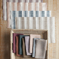 SFERRA - SFERRA Herringbone, Gingham, & Solid Table Linens - An array of table linens in warm fall colors and an assortment of patterns and solids let you create mix-and-match table settings for any season. Made of linen. Machine wash. Solid-colored napkins with hemstitch detail may be personalized with a sing...