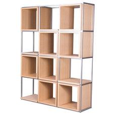 Modern Wall Shelves Grid IV Light Oak Shelf Set