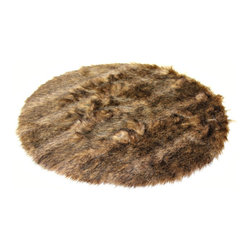 Fur Accents - Stunning Round Pelt Rug / Silky Soft Faux Fur / English Deer / Accent Throw , 6x - A Truly Authentic  Woodland Animal Accent Rug. Rich and Silky Soft Faux Animal Pelt Carpet. Traditional Round. Unique and Exclusive Designs. Made from 100% Animal Free and Eco Friendly Fibers. Perfect for that special spot in your home. Try it in the Winter Lodge, Log Cabin or Family Great Room. So comfortable and elegant. Supple Fur tastefully lined with fine parchment Ultra Suede. Luxury, Quality and Unique Style suitable for the most discriminating Designer / Decorator.