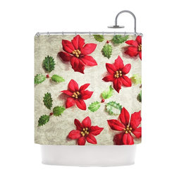 """Kess InHouse - Sylvia Cook """"Poinsettia"""" Holiday Leaves Shower Curtain - Finally waterproof artwork for the bathroom, otherwise known as our limited edition Kess InHouse shower curtain. This shower curtain is so artistic and inventive, you'd better get used to dropping the soap. We're so lucky to have so many wonderful artists that you'll probably want to order more than one and switch them every season. You're sure to impress your guests with your bathroom gallery in addition to your loveable shower singing."""