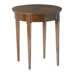 Arteriors - Geneva Side Table - This lovely little wood veneer side table is crafted in a traditional style with a beautiful starburst inlay in the top for that special artisan touch. Elegantly tapered legs and carved panel details complete the stylish look. A secret drawer hidden in the apron can be used to hide a key, journal or remote control.