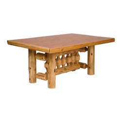 Fireside Lodge Furniture - Cedar Rectangular Log Dining Table in Standar - Finish: 96 in. L - Liquid FinishCedar Collection. Northern White Cedar logs are hand peeled to accentuate their natural character and beauty. Clear coat catalyzed lacquer finish for extra durability. 2-Year limited warranty. 60 in. L x 42 in. W x 30 in. H (100 lbs.). 72 in. L x 42 in. W x 30 in. H (120 lbs.). 84 in. L x 42 in. W x 30 in. H (140 lbs.). 96 in. L x 42 in. W x 30 in. H (160 lbs.)