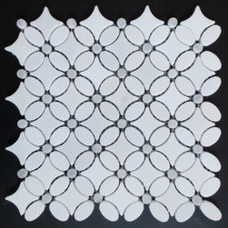 GL STONE - Carrara White Marble Flower Pattern Mosaic Tile, Carton - Italian Bianco Carrera White Polished 11.5 x 11.5 Flower Pattern Wall and Floor Tiles with gray dots are perfect for any interior and exterior projects. The mesh backing not only simplifies installation, it also allows the tiles to be separated which adds to their design flexibility. The Carrara White Marble Florida Flower Pattern Mosaic tiles can be used for a bathroom flooring, shower surround, garden, paving, balcony, corridor, terrace, spa, pool, fountain, etc.