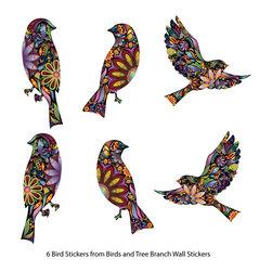 My Wonderful Walls - Bird Stickers in Lovely Flower Pattern - Set of 6 Bird Decals - - Lovely bird stickers - set of 6 bird decals in flower pattern