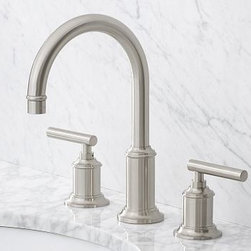 """Hayden Faucet, Satin Nickel finish - Built to the highest industry standards, our low-flow Hayden Faucet is crafted of solid-brass components with a choice of three beautiful finishes. Fits sink openings with an 8"""" widespread. A pre-installed aerator restricts water flow to 2.0 GPM Professional installation required. {{link path='pages/popups/sink_hayden_fau_popup.html' class='popup' width='720' height='800'}}Learn more{{/link}} about how to install this faucet. View our {{link path='pages/popups/fb-bath.html' class='popup' width='480' height='300'}}Furniture Brochure{{/link}}. Catalog / Internet Only."""