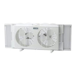 Lasko Products - 7-Inch Twin 2-Speed Window Fan - Can't stand the heat? Install this small, efficient twin window fan. You can position it for exhaust or air intake, and it does the job without blocking your outside view.