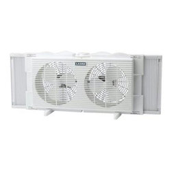 "Lasko Products - Twin Window Fan 2 Speed 7"" - Can't stand the heat? Install this small, efficient twin window fan. You can position it for exhaust or air intake, and it does the job without blocking your outside view."