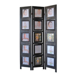 """ADAD5480-BK - 3 Panel Double Sided Black Finish Wood Photo Frame Room Divider Screen - 3 panel double sided black finish wood photo frame room divider screen with swivel frames. Opening measures 7"""" x 8"""". Measures 38"""" x 64"""" H. Some assembly required."""