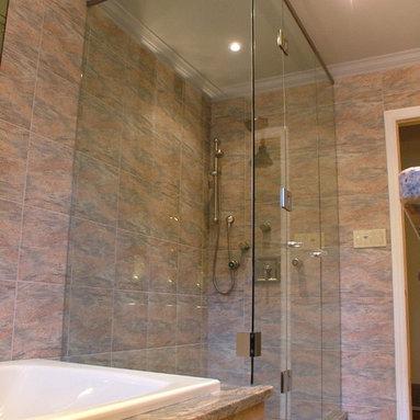 Custom Shower enclosure - corner shower with header bar
