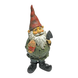 EttansPalace - Dagobert with Gifts Garden Gnome Statue - From The Acorn Hollow Garden Statuary Collection; When you could use a little gnome magic at your entryway, garden vegetable plot or flowerbed, Dagobert the Garden Gnome Statue is at the ready! Sporting a pointy red elf hat and trusty gnome spade, this garden elf statue extends a warm welcome to all visitors to your home or garden. Imaginatively sculpted, our quality designer resin garden gnome statue is hand-painted one piece at a time.