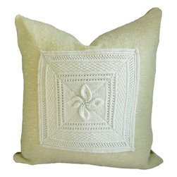 """Interior Nature - Chunky Knit Pillow, Floral Throw Pillow, Crochet - Need a good cry? This is the pillow you hug for that release. Our softest and most hug-able pillow. Antique French hand crochet cotton flowers attached to a very fine knubby wool silk blend fabric, handcrafted in 1970's for Linekin Bay Fabrics by Robin Whitten. The backing is an exceptionally soft, thick and durable 100% cotton tan fabric. Feather/down insert.�18"""" x 18""""."""