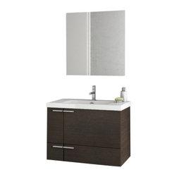 ACF - 31 Inch Wenge Bathroom Vanity Set - Set Includes: Vanity Cabinet (2 Doors,1 Drawer), high-end fitted ceramic sink, wall mounted vanity mirror.