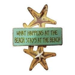 """Handcrafted Nautical Decor - Wooden What Happens at the Beach Starfish Sign 8"""" - Wood Sign - This Wooden What Happens at the Beach Starfish Sign 8"""" is a great addition to a beach themed home. Perfect for welcoming friends and family, or to advertise a festive party at your beach house, bar, or restaurant, this sign is sure to brighten your day. Place this beach sign up wherever you may choose, and enjoy its wonderful style and the delightful beach atmosphere it brings."""