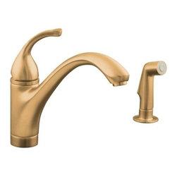 KOHLER - KOHLER K-10416-BV Forte Single-Control Kitchen Sink Faucet - KOHLER K-10416-BV Forte Single-Control Kitchen Sink Faucet with Sidespray and Lever Handle in Brushed Bronze