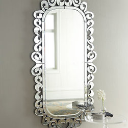 """Archer"" Mirror  - Venetian-styled mirrors always awe with their gleaming, elegant design and the ""Archer"" Mirror is no exception.      * Outer dimensions, 38""W x 4""D x 83""T.    * Mirror dimensions, 28""W x 65""T."