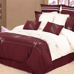 Bed In A Bag - HC 7pc Hotel Collection Duvet Cover Set-Olivia - HC 7pc Hotel Collection Duvet Cover Set-Olivia.  Machine Washable / 100% polyester microfiber.
