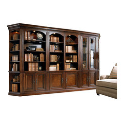 Hooker Furniture - Hooker Furniture European Renaissance II 48-inch Wall Bookcase 374-10-448 - One adjustable wood-framed glass shelf; two adjustable shelves; two locking file drawers with pendaflex letter/legal filing system; one light controlled by a three-intensity touch switch