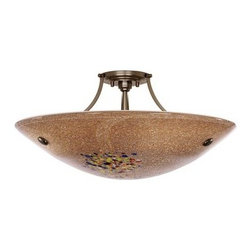"""LBL Lighting - LBL Lighting Veneto Grande Semi-Flush Mocha 3 Light Ceiling Fixture - LBL Lighting Veneto Grande Semi-Flush Mocha 3 Light Ceiling FixtureFeaturing genuine Italian Murano handmade Mocha glass with fused frit patterns and real inlaid silver flakes, this exquisite 23.5"""" pendant will add a touch of class and style to any home or business. Install this fixture in level or sloped ceilings up to 45 degree steep with the special built in canopy. The included 150 watt mini-candelabra base halogen lamp provides ample lighting for this splendid fixture.LBL Lighting Veneto Grande Semi-Flush Mocha Features:"""