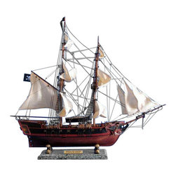 "Handcrafted Nautical Decor - Caribbean Pirate Ship 26"" - White Sails - Sold Fully Assembled Ready for Immediate Display -Not a Model Ship Kit"