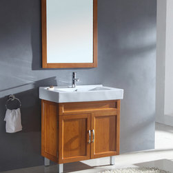 None - Ceramic Sink Top Single Sink Bathroom Vanity with Matching Mirror - This modern bathroom vanity is constructed of solid wood with a medium maple finish and features a matching mirror. This cabinet has an exquisite contemporary design.