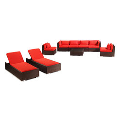 "Kardiel - Modify-It Outdoor Patio Furniture Sofa Chaise Lounge Maui 9-pc Set Wicker, Red - Dressed for the evening or sunbathing mid-day, the spectacular Maui 9-piece patio set lounges as well as it entertains. The centerpiece is the modern Grande' length 4 seat sofa. Effortlessly accommodate additional guests with the matching set of armless side chairs. Introduce the ritual of relaxed lounging to your day with a set of 2 personal chaise sun lounge adjustable beds. A tempered glass top coffee table completes the collection. The design origins are Clean European. The elements of comfort are inspired by the relaxed style of the Hawaiian Islands. The Aloha series comes in many configurations, but all feature a minimalist frame and thick, ample modern cube cushions. The back cushions are consistent in shape, not tapered in to create the lean back angle. Rather the frame itself is specifically ""lean tapered"" allowing for a full cushion, thus a more comfortable lounging experience. The cushion stitch style utilizes smooth and clean hand tailoring, without extruding edge piping. The generously proportioned frame is hand-woven of colorfast, PE Resin wicker. The fabric is Season-Smart 100% Outdoor Polyester and resists mildew, fading and staining. The ability to modify configurations may tempt you to move the pieces around... a lot. No worries, Modify-It is manufactured with a strong but lightweight, rust proof Aluminum frame for easy handling."