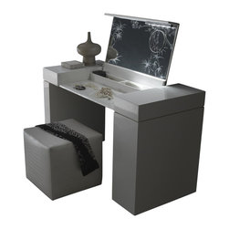 Rossetto - Rossetto Nightfly Dressing Table in Black - Rossetto - Bedroom Vanities - T412700000028 - Vanity unit in gloss black upholstered with a black mother of pearl crocodile finish. Pullout tall unit with accessory compartments and removable jewelry tray.
