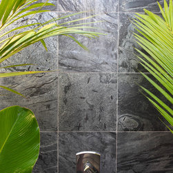 Island Stone SIlver Quartzitic Slate Bath with Plank Interlock - The Solid Squares Group consists of twelve inch square tiles that are specifically chosen for their rich color, surface texture and durability. With either a honed or a natural face surface, this range will make a truly individual design statement in any living space. They can be used to create a dramatic effect in a number of situations - whether as a feature wall, or as the main floor of a living room.