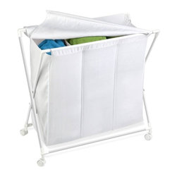 Triple Folding Hamper - Honey-Can-Do HMP-01387 Triple Hamper/Sorter on Rolling Casters, White. Doing the laundry becomes less of a chore with this useful and contemporary tool for organizing, transporting, and hiding away garments waiting for the wash. Sort whites, colors, and delicates in this triple bin rolling hamper and you'll always have a clear visual of when a full load is ready - making you more efficient and saving energy. This space-saving unit has casters for easy maneuvering and folds up fast when not in use. Cloth flip-top lid hides away worn clothing for a tidy room in seconds.