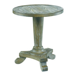 Hammary - Hammary 090-349 Hidden Treasures Driftwood Round Pedestal End Table - A perfect blend of rustic and traditional design, this round pedestal table acts as the perfect romantic accent piece for your home. Made from ash solids and veneers with a driftwood finish, you can really see the intricate detail of the grain and texture. The aged, rustic look beautifully compliments the traditional Pedestal base with curved legs. This table is simply a great place to display a vase, plant or home accessory.