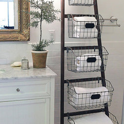 Wood Ladder with 5 Wire Baskets - I couldn't help but love this ladder/basket combo for overflow organization in a rustic-modern bathroom.