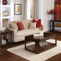 Standard Furniture - Standard Furniture Avion 3 Piece Coffee Table Set in Walnut - Avion Occasional Tables have smooth transitional styling and a weighty substantial look that makes them a perfect fit with today's casual lifestyle. - 22431-3-SET.  Product features: Transitional Styling; Floating tops with canted corners; Canted legs; Decorative cherry, prima vera and walnut veneer patterns; Hidden Casters on Cocktail; Floor level bottom shelves; Surfaces clean easily with a soft cloth. Product includes: Cocktail Table (1); End Table (1); Sofa Table (1). 3 Piece Coffee Table Set in Walnut belongs to Avion Collection by Standard Furniture.