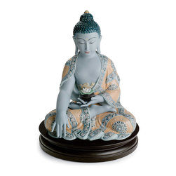 "Lladro Porcelain - Lladro Medicine Buddha Figurine - Plus One Year Accidental Breakage Replacement - "" Bhaishajyaguru, the Healing Teacher, is one of the most popular forms of the Buddha and is often known as the Medicine Buddha. While still a bodhisattva, he is shown as a seated Buddha wearing monks robes, as usual in most of his depictions found in oriental art. In Tibet, he is sometimes depicted seated in his Lapis Lazuli Paradise, and in paintings he is generally colored blue. Innovation piece made in gres glazed in blue and ochre colors. Wooden base included.  Hand Made In Valencia Spain - Sculpted By: Virginia Gonzalez - Included with this sculpture is replacement insurance against accidental breakage. The replacement insurance is valid for one year from the date of purchase and covers 100% of the cost to replace this sculpture (shipping not included). However once the sculpture retires or is no longer being made, the breakage coverage ends as the piece can no longer be replaced. """