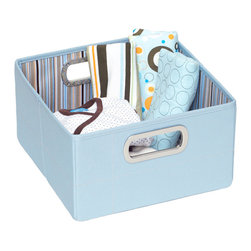"""JJ Cole - JJ Cole Storage Box Blue Stripe - Fashion and function go hand in hand with JJ Cole's high-quality baby gear collection. Simple and stylish, this storage box provides convenient organization options to a bedroom or nursery. Featuring two metal side handles, this collapsible blue container offers a spacious yellow, blue, green, brown and cream striped interior for holding toys, diapers and more. Available in two sizes. Made from polyester canvas. Spot clean only. Short box: 11""""W x 11""""D x 6.5""""H Tall box: 11""""W x 11""""D x 11""""H"""