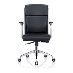White Line Imports - Harvard Low Back Office Chair in Black - Features: