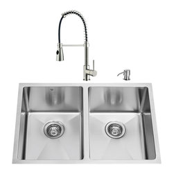 "VIGO Industries - VIGO All in One 29-inch Undermount Stainless Steel Double Bowl Kitchen Sink and - Revitalize the look of your kitchen with a VIGO All in One Kitchen Set featuring a 29"" Undermount kitchen sink, faucet, soap dispenser, two matching bottom grids and two sink strainers."