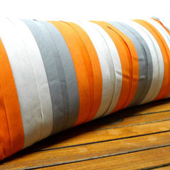 Small Lumbar Ribbon Stripe Pillow No74 by MakeGood on Etsy